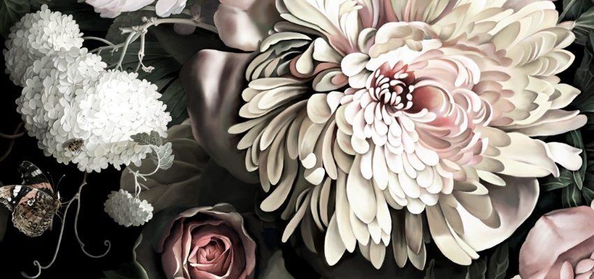 dark moody floral wallpaper
