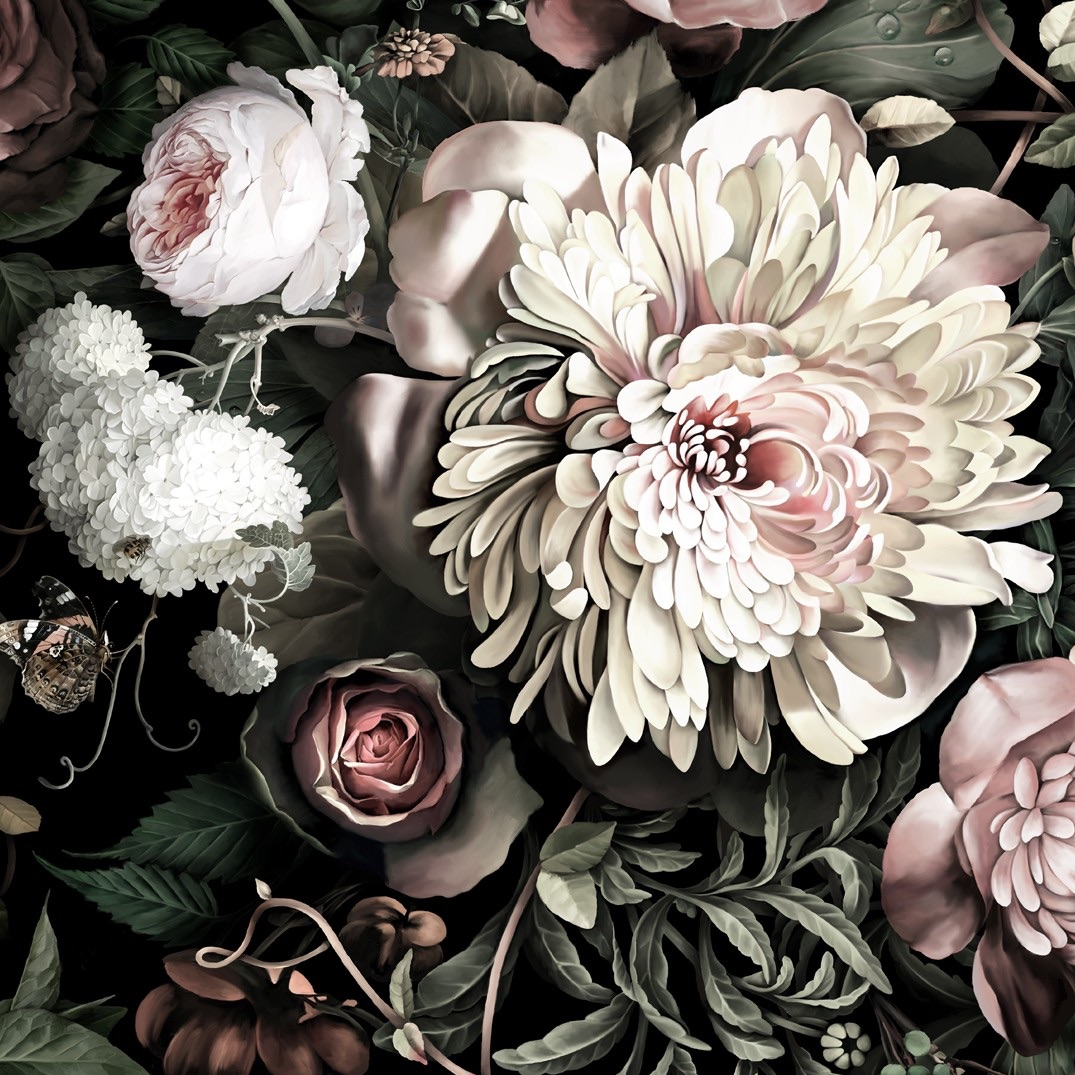 dark moody floral wallpaper