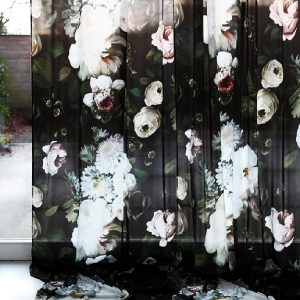 black foral fabric