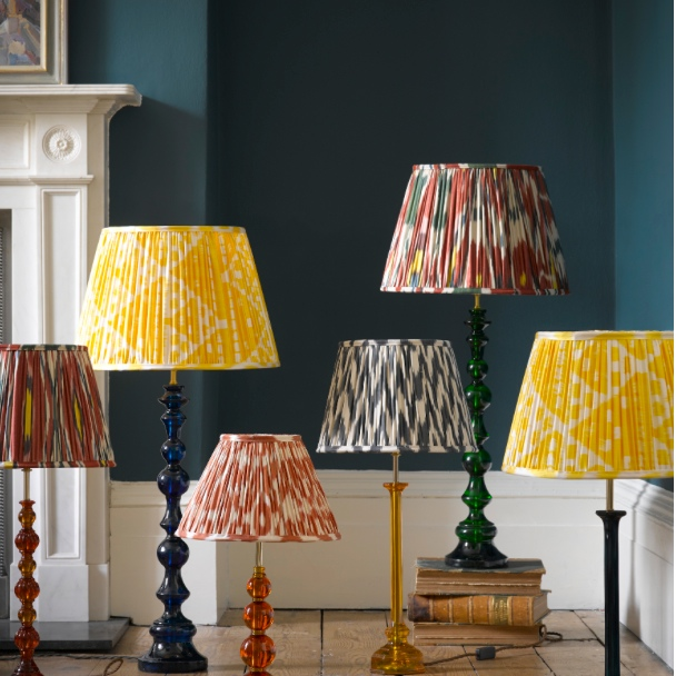 Blue Ikat lampshade by Pooky