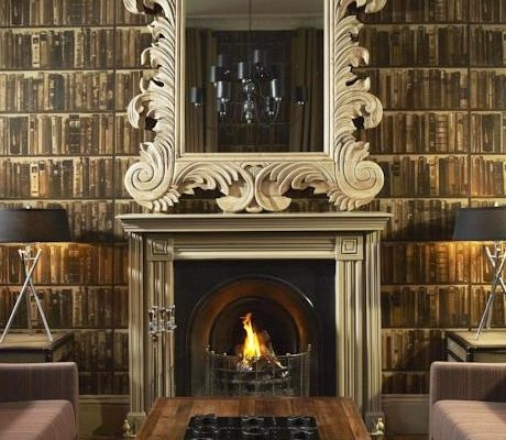 Andrew Martin Library bookcase dark wallpaper