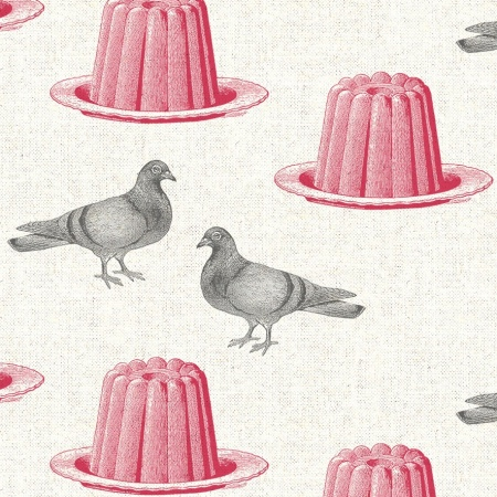 Pigeon Jelly Thornback and Peel on Ivory linen quirky fabric