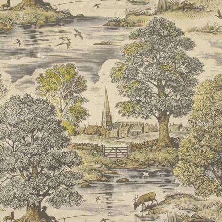 Lewis & Wood Royal Oak country life wallpaper fabric
