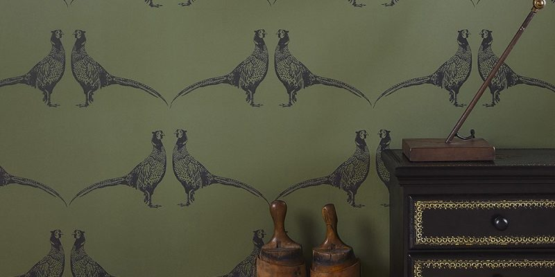 Green Pheasant wallpaper by Barneby Gates animal print wallpaper