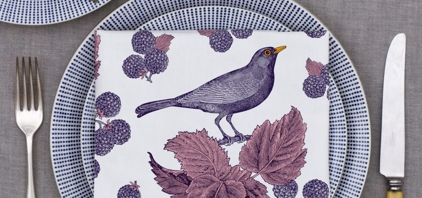Thornback & Peel Blackbird & Bramble napkins