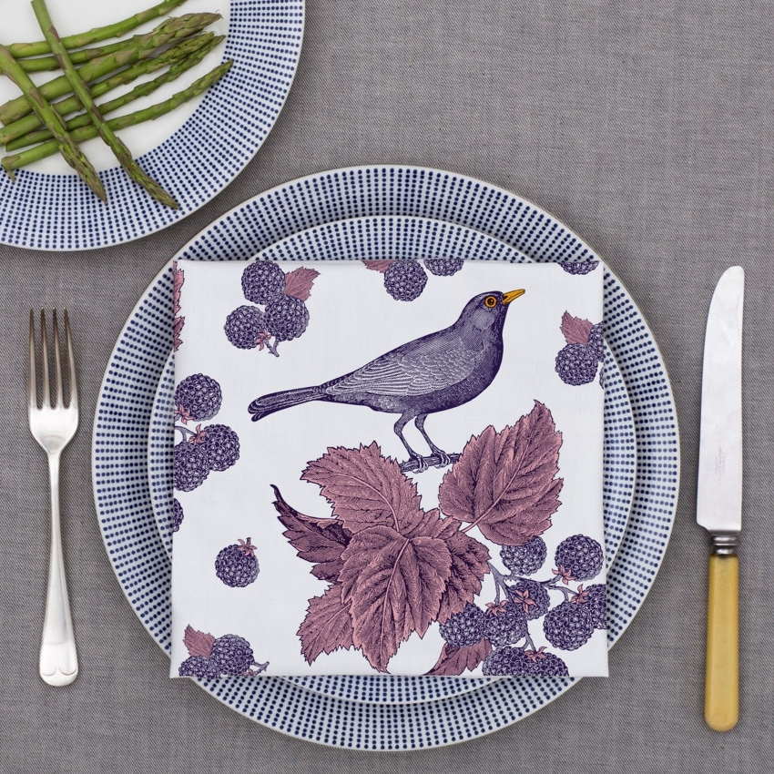 Thornback & Peel Blackbird & Bramble napkins