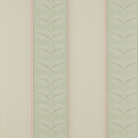 Colefax Fowler Woodcote Stripe pink green bedroom wallpaper