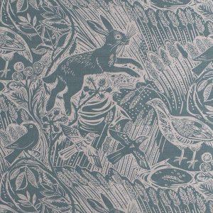 St Judes Harvest Hare blue printed linen mark hearld