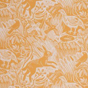 St Judes Harvest Hare yellow linen union mark hearld