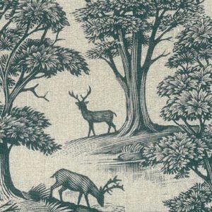 Lewis & Wood Deer Park blue printed linen Andrew Davidson