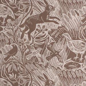 St Judes Harvest Hare brown printed linen