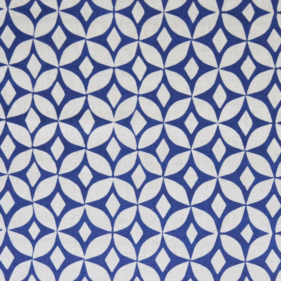 Korla Quadria Ink Blue royal blue geometric printed cotton fabric