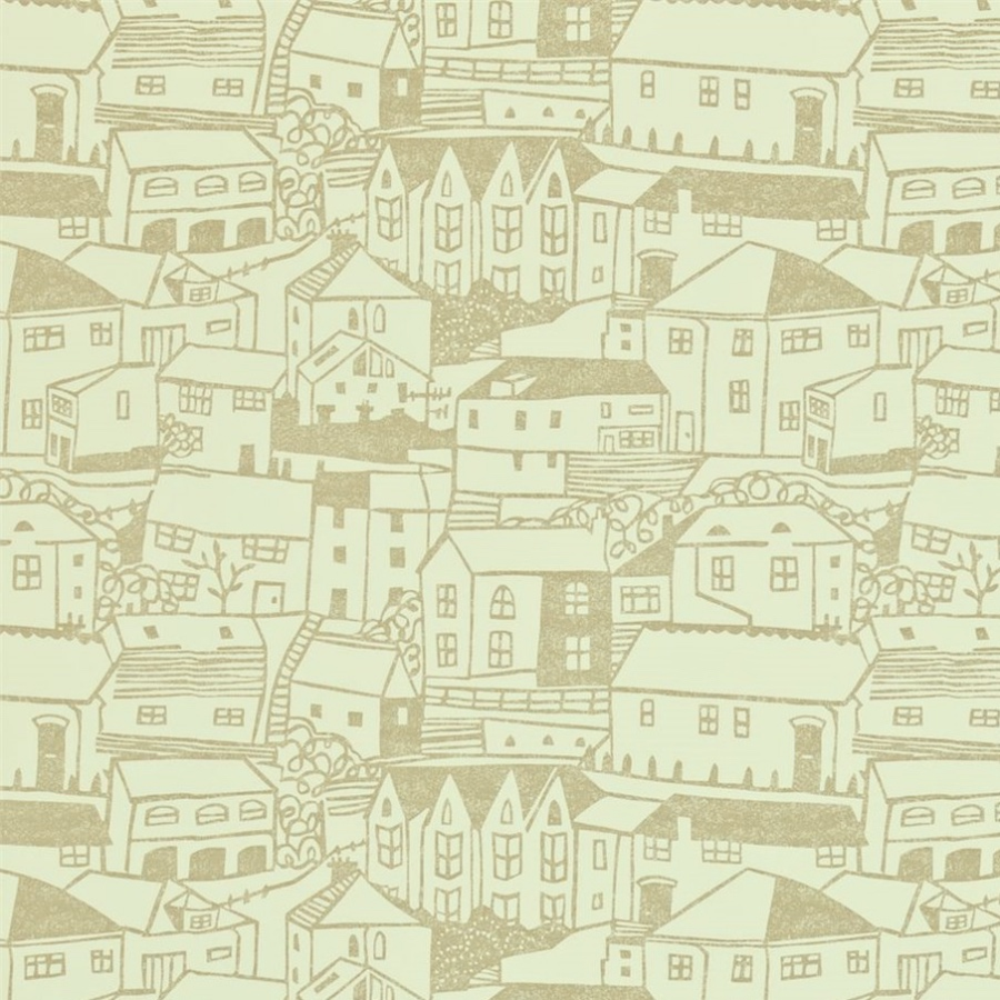 Sanderson St Ives cream wallpaper houses in village scene
