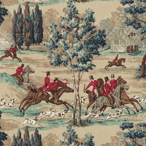 Sanderson Tally Ho fabric teal & ruby hunting fabric