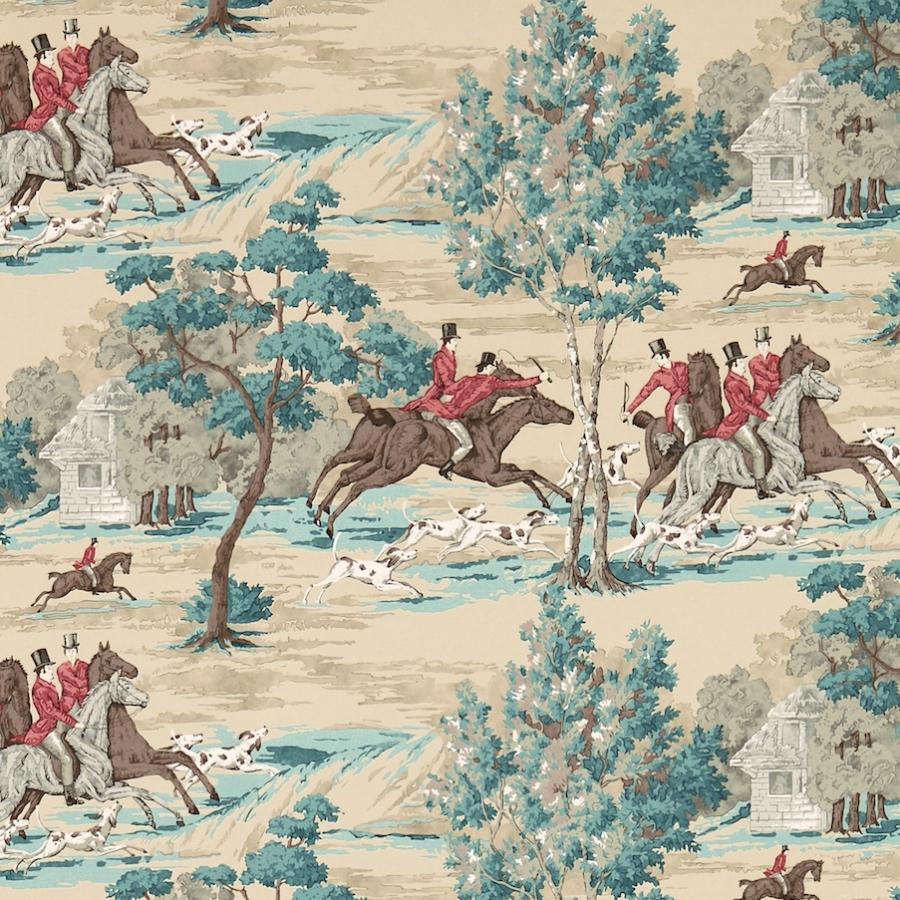 Sanderson Tally Ho wallpaper teal & ruby hunting scene wallpaper