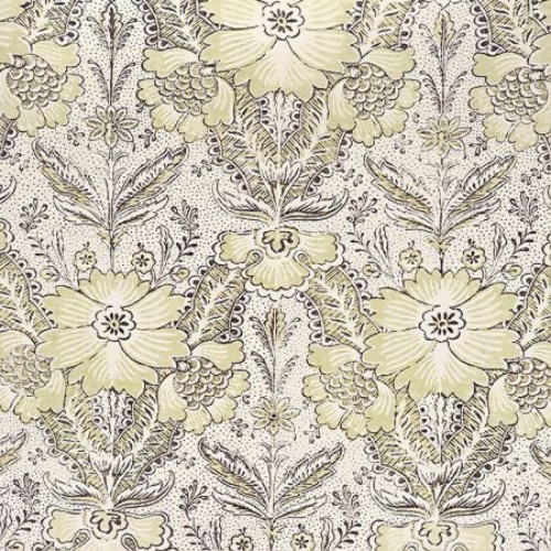 Cloth & Clover Amberley greengage green floral linen fabric