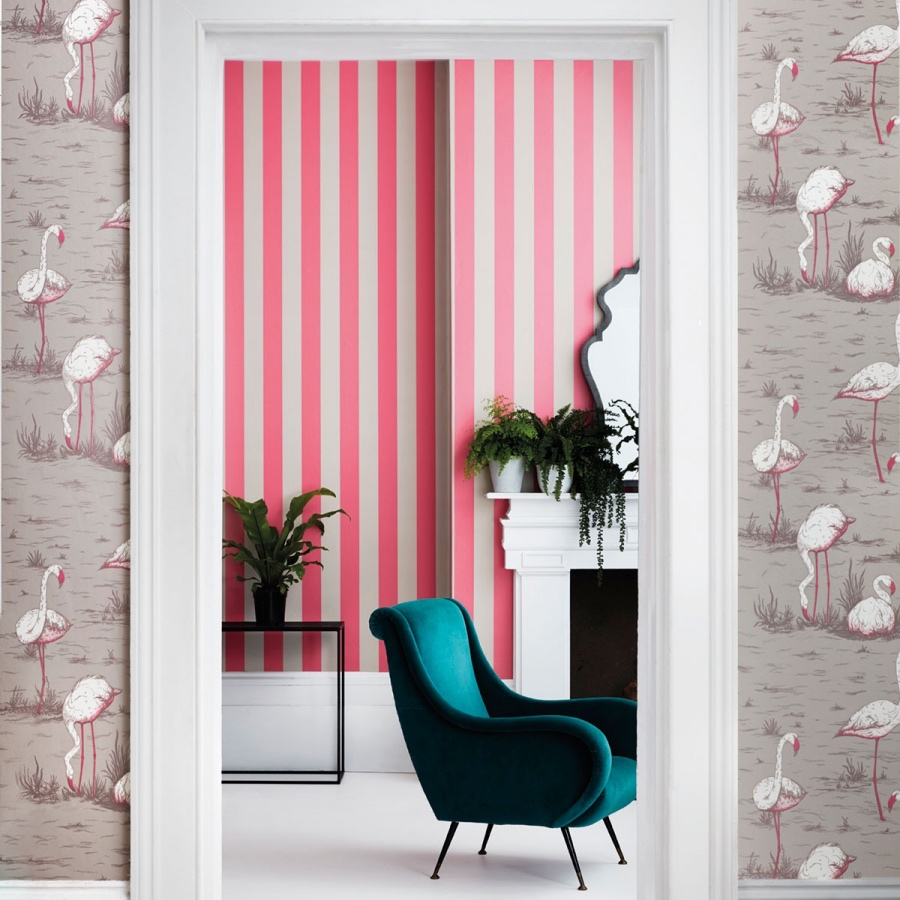 Cole & Son Flamingos pink quirky wallpaper