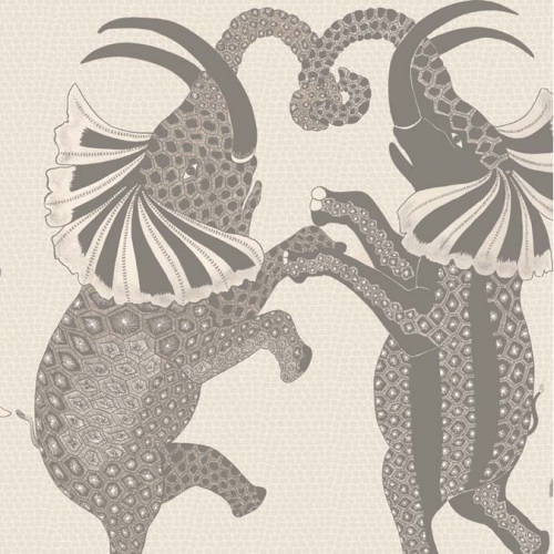 Cole & Son Safari Dance, pale stone & grey quirky wallpaper