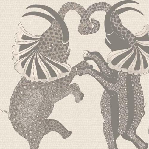 Cole & Son Safari Dance, pale stone & grey quirky wallpaper