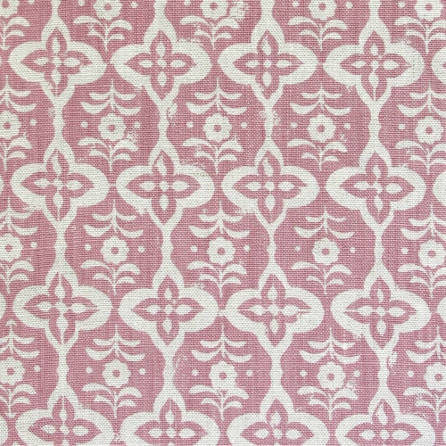 Rapture & Wright cordoba madder pink Handblocked single colour small design print on linen