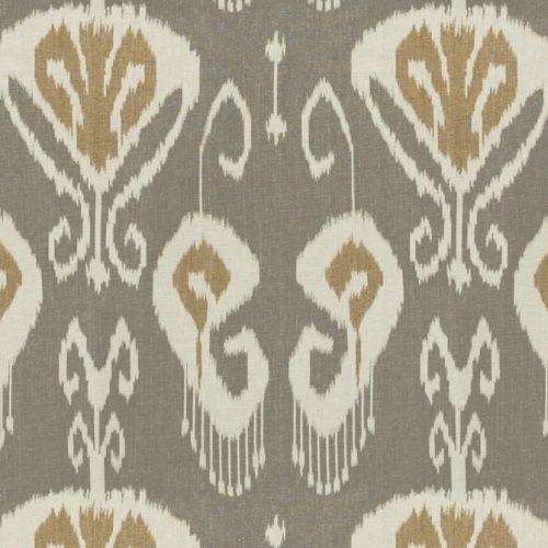 BakerLifestyle Bansuri Stone Cashew ikat brown linen fabric