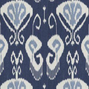 Baker Lifestyle Banbury Indigo ethnic ikat printed blue fabric