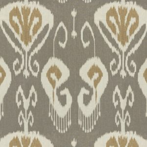 Baker Lifestyle Bansuri Stone Cashew ethnic ikat printed brown beige fabric