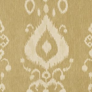 Kravet Pantan 16 yellow beige printed linen ikat ethnic fabric