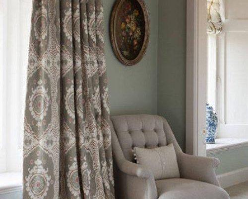 Lewis & Wood Bukhara Tea Rose ikat printed fabric linen in blue brown