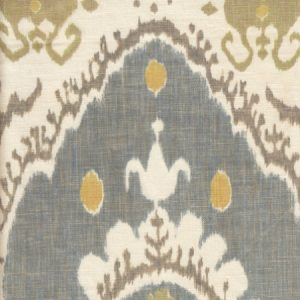 Lewis & Wood Bukhara Oasis ikat printed linen fabric blue green
