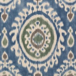 Manuel Canovas Madina Blue printed ethnic ikat blue green fabric
