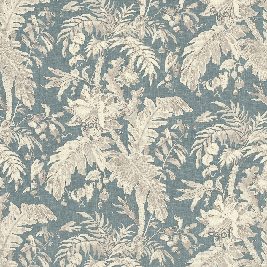 Kerala from Mark Alexander, an intricate hand painted exotic floral design is delicately printed on natural linen in blues and creams
