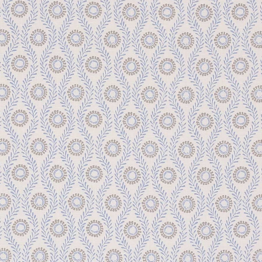 Colefax and Fowler Swift blue & grey printed linen