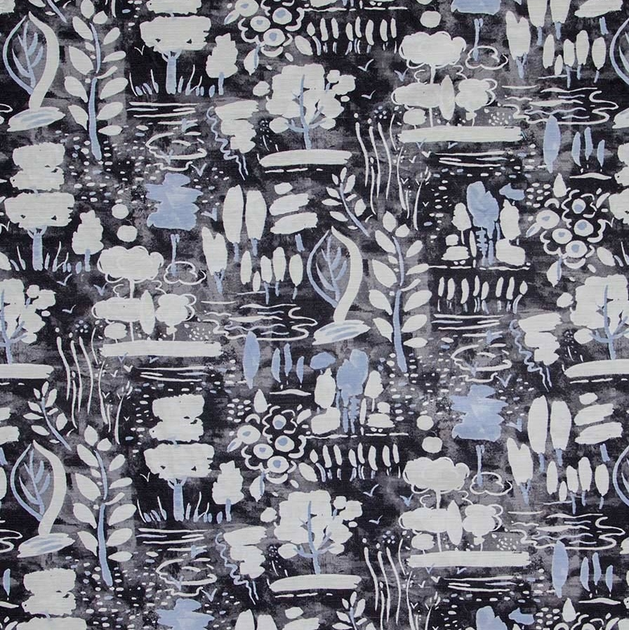 Annie Sloan fabric Dulcet Graphite black grey blue fabric