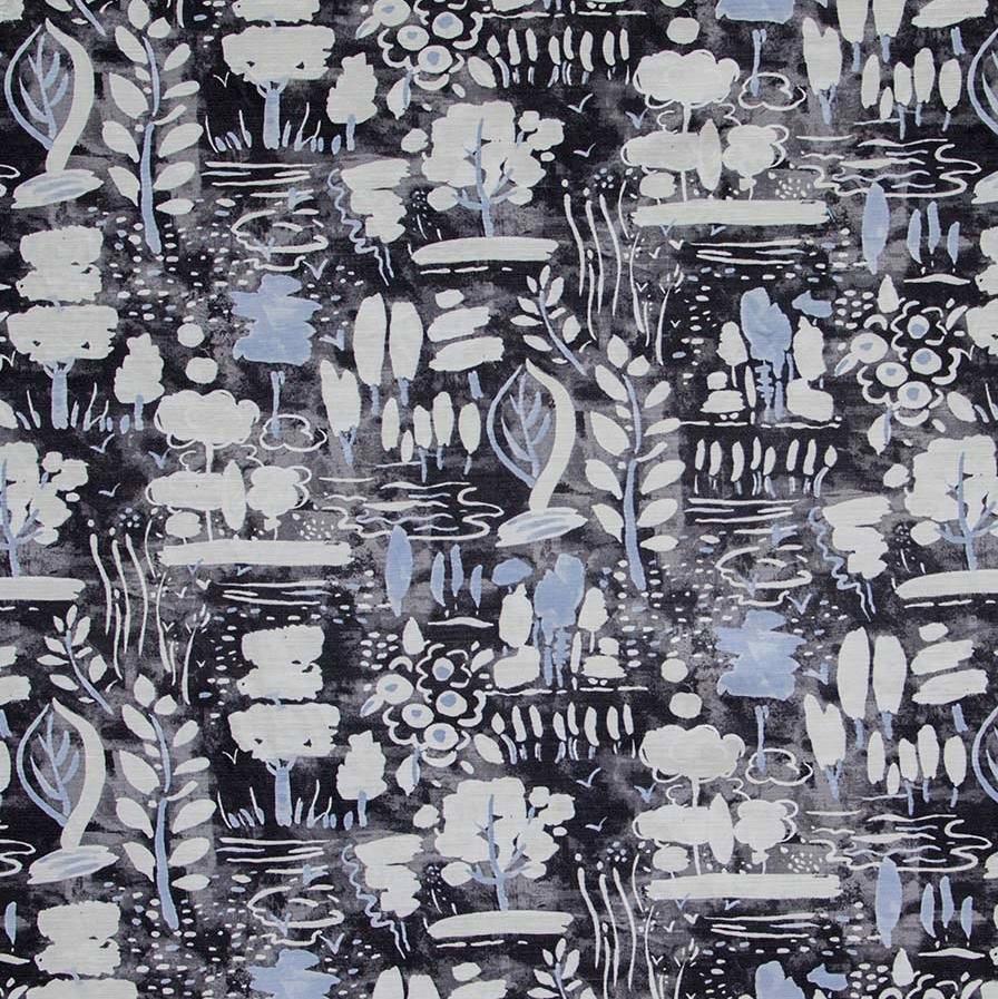 Annie Sloan fabric Dulcet Graphite black grey blue fabric
