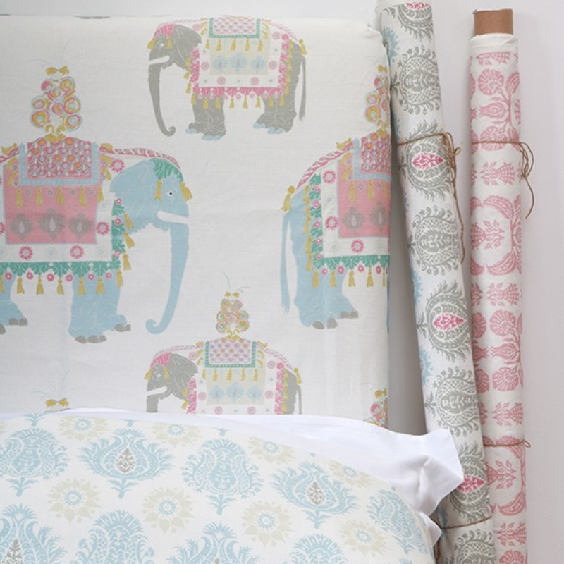 Charlotte Gaisford childrens fabric Orlando The Great Dream with elephants in pink and blue