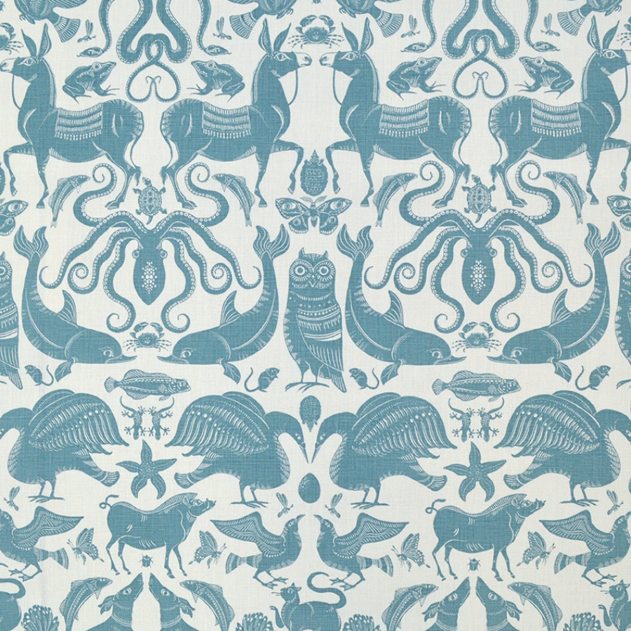 Fanny Shorter Birds & Beasts Pebble blue animal print fabric upholstery curtains