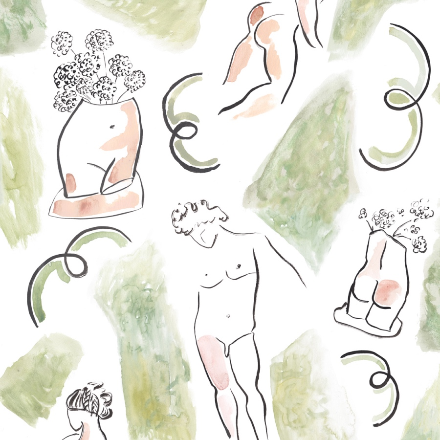 Common Room Dressing and Undressing quirky life drawing wallpaper