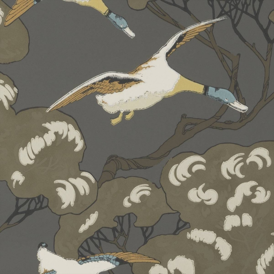Mulberry Flying Ducks Charcoal wallpaper