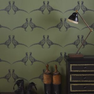 Barneby Gates Pheasant Camo Green wallpaper
