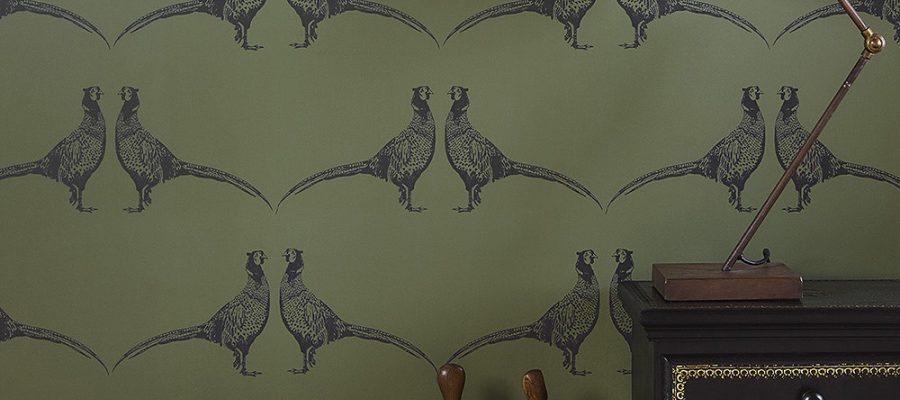 Barneby Gates Pheasant Camo Green wallpaper