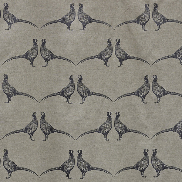 Barneby Gates Pheasant Charcoal on Natural fabric