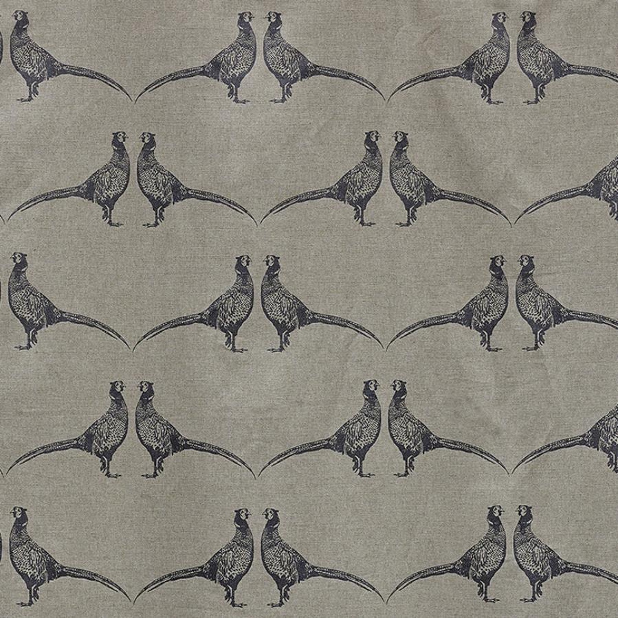 Barneby Gates Pheasant fabric charcoal grey
