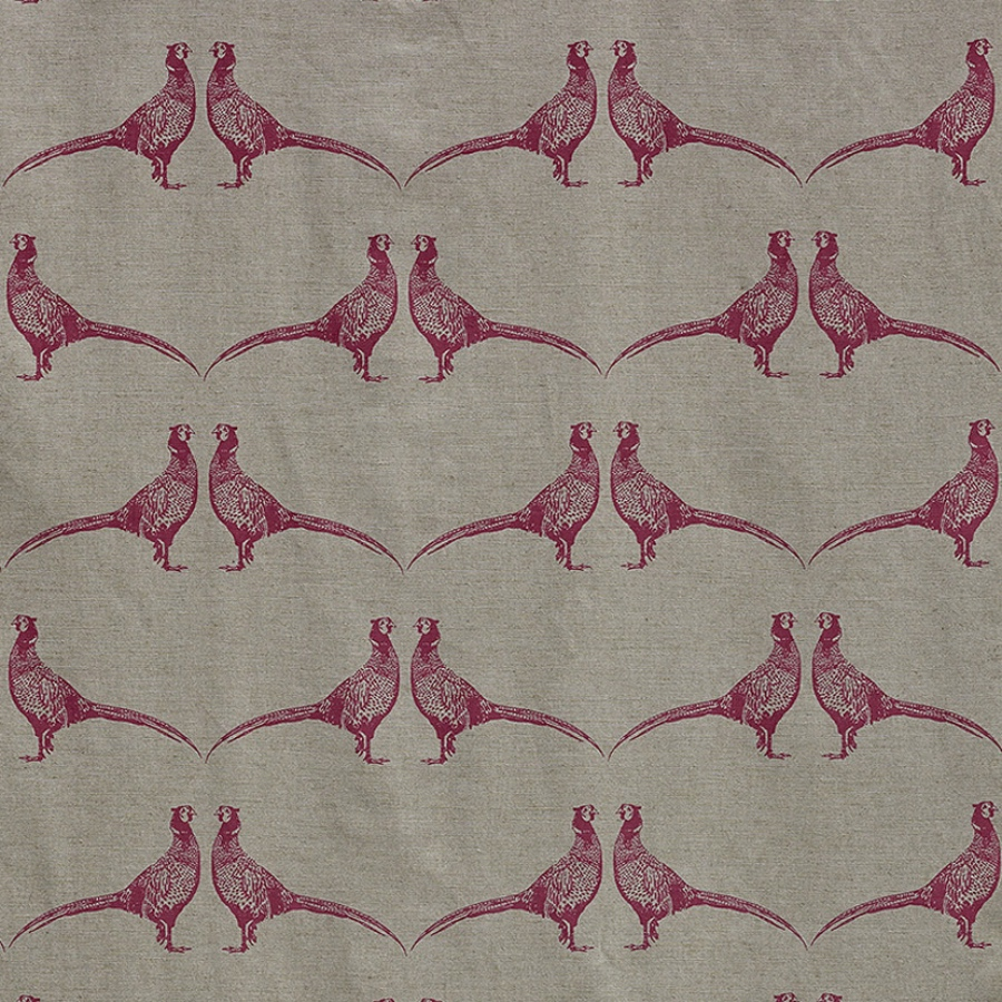 Barneby Gates Pheasant Pink on Natural fabric