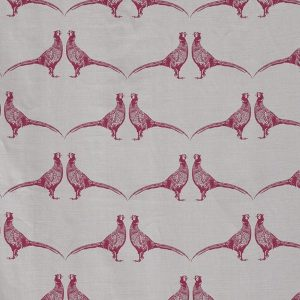 Barneby Gates Pheasant pink on cream fabric