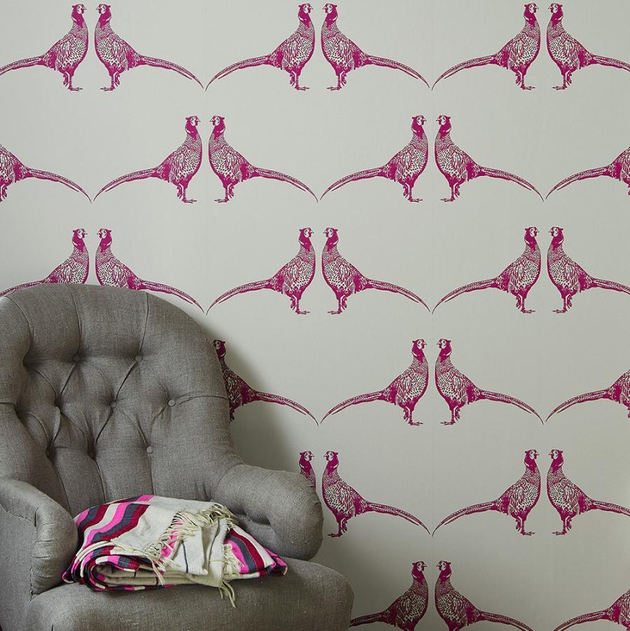 Barneby Gates Pheasant pink wallpaper