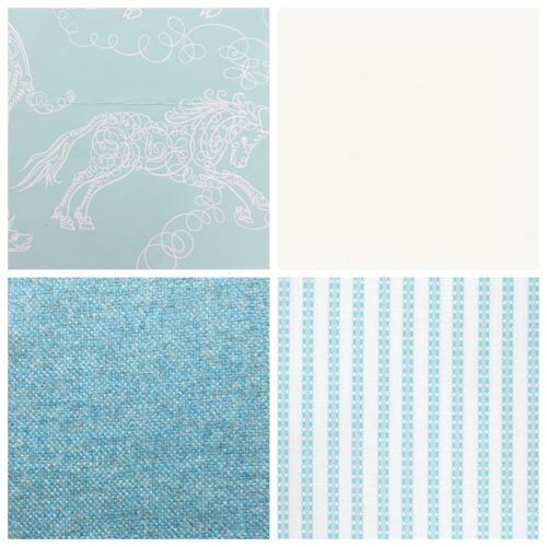 Studio Printworks Spenserian Beasts aqua fabric wallpaper