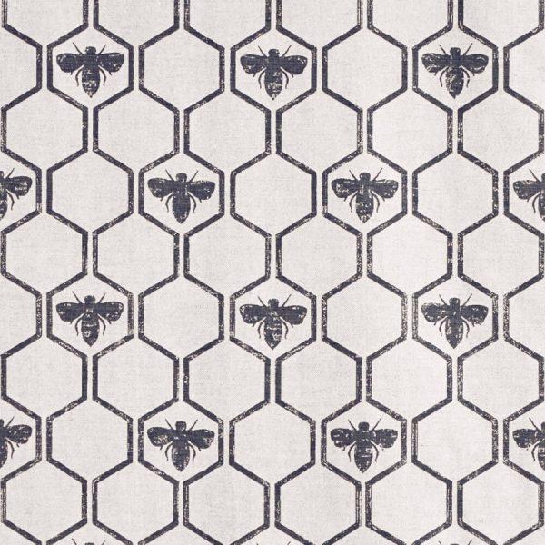 Barneby Gates Honey Bees Charcoal fabric