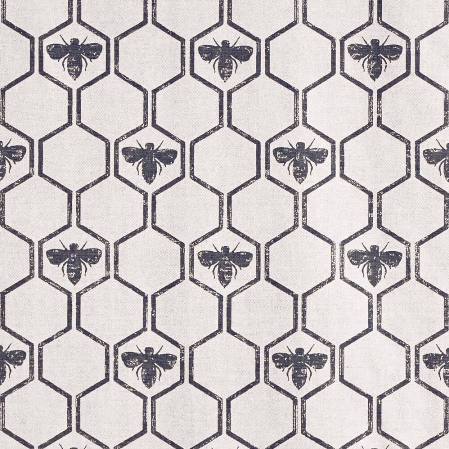 Barneby Gates Honey Bees Charcoal fabric
