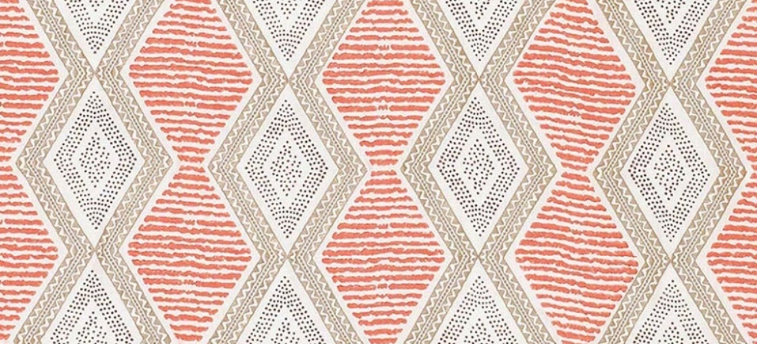 Nina Campbell Belle Ile coral beige brown curtain fabric